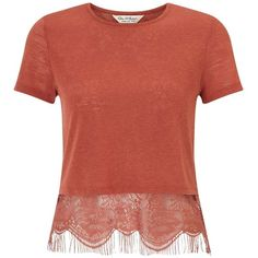Miss Selfridge Blusher Lace Split Back Tee ($21) ❤ liked on Polyvore featuring tops, t-shirts, rose pink, short sleeve t shirts, lace t shirt, red top, jersey tee and short sleeve tee