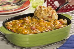 Our Light King Ranch Casserole is a healthier version of your favorite creamy and cheesy Tex-Mex chicken casserole recipe. You won't even need to ring the dinner bell for this one...they'll already be lining up for their serving!
