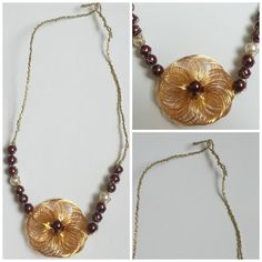 Burgundy White Glass Pearl Gold Wrap Necklace by Naps on Etsy