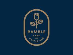 Ramble Cafe and Waffle Bar logo option by Jay Fletcher Logo Inspiration, Badge Design, Icon Design, Badges, Type Logo, Restaurant Logo, Veggie Restaurant, Cafe Branding, Bar Logo