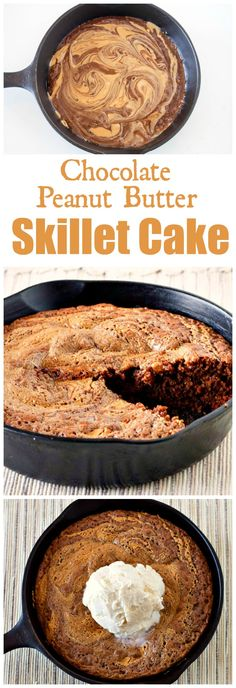 Chocolate Peanut Butter Skillet Cake - an easy family dessert that combines rich chocolate with creamy peanut butter for a tasty treat.