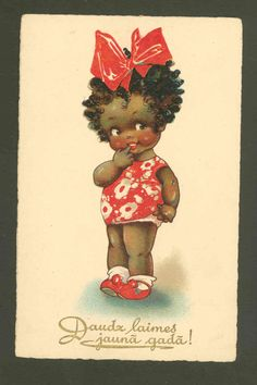 A cutie-pie of color by British artist Agnes Richardson - on an early-20th-century postcard that wishes a Happy New Year... in Latvian!