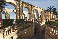 Arches in Upper Barrakka Gardens, which overlooks Grand Harbour in Valletta, the capital of Malta