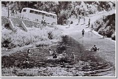 On their way back from an outing to Diepwalle in 1974 the students had an opportunity to cool off in the Gouna River. Note the Saasveld bus in the background. Knysna, Good Old, Cape Town, Wilderness, Students, River, History, Heart, Garden