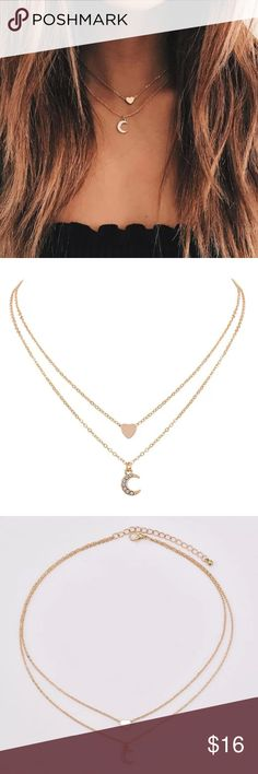 5 for $25 Two Layer Heart and Moon Charm Necklace Brand new gold color double layered moon and heart necklace  Aprox Chain length: 14' plus 2' extension  Lobster clasp closure Material: Zinc Alloy  Everything in my store is 5 for $25. Mix and Match. Buy for yourself or as a gift for mom or friend.  Add 5 items to your bundle and offer $25. Jewelry Necklaces