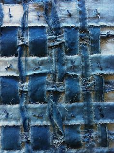By glennisd - woven boro tied in a checkerboard pattern-every other crossover using indigo dyed silk floss