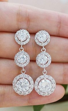 Halo Style Cubic Zirconia Luxury Bridal Earrings from EarringsNation