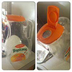 Turn an old orange juice jug into a cereal or dog food dispenser.