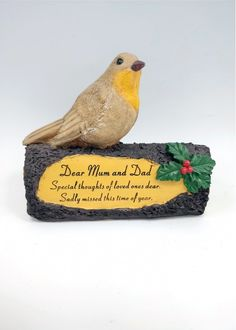 Dad Robin On Log Memorial Ornament Dear Dad Love, Laughter, Christmas times past. Memories of you will always last. Beautiful detailed Robin on log with holly and berries decoration. Made from resin Suitable for outdoor use. 18 x 14 cm Memorial Plaques, Memorial Ornaments, Miss You Mom, Dear Dad, Robin, First Love, Berries, Dads, Decoration