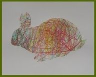 Crayon scribbles covered with animal cutout shape