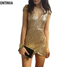 Sexy Sequin Dress Women Party Dresses Black Gold Vestidos De Fiesta Deep V Neck Bodycon Clubwear Novelty Woman Clothes-in Dresses from Women's Clothing & Accessories on Aliexpress.com | Alibaba Group