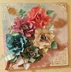 Mia creazione. Tela dipinta con applicazione di fiori e merletti di carta