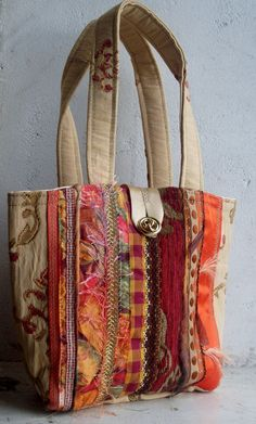 Orange eco stripe handbag