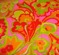 Gallery of Fabric: Colorful, Bold, MOD Come take a look at some great MOD fabric styles from the Bold colors of orange, hot pink, green in abst… Psychedelic Pattern, Psychedelic Art, Flower Power, Textures Patterns, Print Patterns, Colour Pallette, Colour Schemes, Palette, Hippie Flowers
