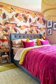Cranes are referred to as the bird of happiness & good fortune in Japanese culture. A luxurious large scale bird pattern that will transform your space. Funky Bedroom, Bedroom Inspo, Dream Bedroom, Master Bedroom, Coral Bedroom, Bedroom Ideas, Boho Chic, Bohemian Decor, Eclectic Decor