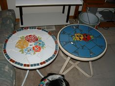 2 small patio tables. Both are called 'Ring of Flowers.'  I used reclaimed tile and dinner plates on each piece!~~  Mosaic by Diane Erickson~~