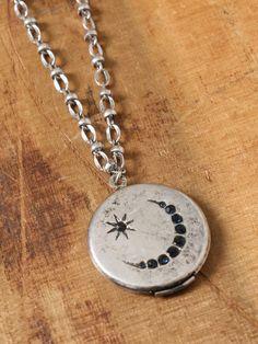 Moon Locket Necklace - Silver - Gypsy Warrior