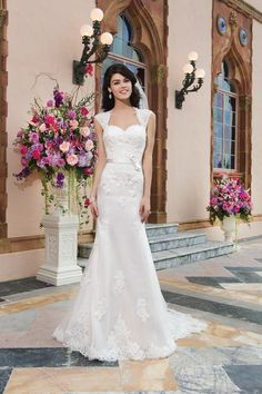 Kaydee: Sincerity wedding dress style 3821 Tulle, alencon lace fit and flare dress highlighted by a Queen Anne neckline. Sincerity Bridal Wedding Dresses, 2015 Wedding Dresses, Sweetheart Wedding Dress, Lace Wedding Dress, Wedding Dress Styles, Bridal Dresses, Wedding Gowns, Wedding Ceremony, Prom Dresses