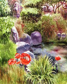 Garden Poppies http://irina-sztukowski.pixels.com/featured/garden-poppies-rocks-and-pond-irina-sztukowski.html #art #painting #watercolor #interior #decor #artwork #print #canvas #landscape #gorgeous