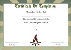 11 best boot camp certificate template images on pinterest in 2018 boot camp certificate of completion certificate of completion boot camp certificate templates get maxwellsz