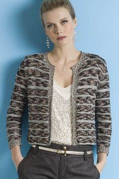 Khloe Chanel-Inspired Jacket pattern by Teresa Chorzepa - Chanel Cardigan - Ideas of Chanel Cardigan - Beautiful Khloe Chanel-Inspired jacket knit in 3 different yarns from S. Charles at String Yarns Crochet Jacket, Crochet Cardigan, Knit Jacket, Chanel Style Jacket, Boucle Jacket, Jacket Pattern, Cool Sweaters, Knitting Designs, Crochet Clothes