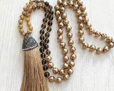 #forher #necklace #handmade #Boho #ethnic #jewlery #gifts #mala #style long golden pearl necklace, Long golden tassel necklace, golden tassel necklace, long romantic bronz necklace, gift for her necklace