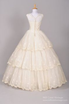 1950's Silk Organza Southern Bell Vintage Wedding Gown (back)