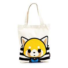 Aggretsuko Canvas Tote Bag Calm ($19) ❤ liked on Polyvore featuring bags, handbags, tote bags, tote handbags, canvas totes, mini tote bags, white canvas tote bag and canvas tote bag