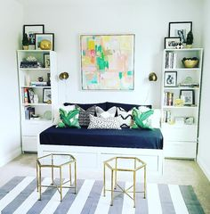 L S I N T E R I O R S (@lindsaysaccullointeriors) • Guest Room Daybed, Sitting Room, Brimnes, White, Grey, Green, Black and White Bedroom