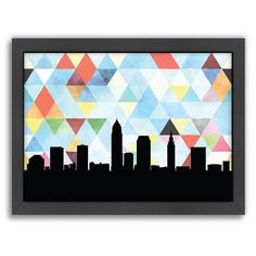 """Americanflat """"Cleveland Triangle"""" by PaperFinch Framed Wall Art, Multicolor"""