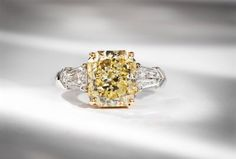 Platinum, 18K yellow gold and diamond three-stone engagement ring #igorman