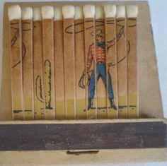 Vintage cowboy feature matchbook. Feature matchbooks have illustrations incorporated on the matches themselves.