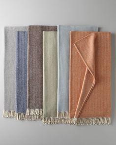 Brushed Cotton Herringbone-Weave Throw by SFERRA at Neiman Marcus.