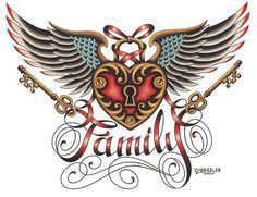 Family by artist Tyler Bredeweg. Featuring a vintage lock and key with wings tattoo art design. Giclee fine art reproductions on canvas. A Canvas Giclee is a gallery wrapped canvas print that comes on