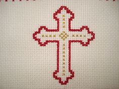 the cross Cross Stitch Numbers, Cross Stitch Heart, Cross Stitching, Cross Stitch Embroidery, Embroidery Patterns, Cross Stitch Designs, Cross Stitch Patterns, Christian Symbols, Easter Cross
