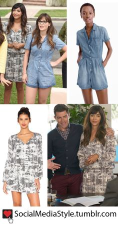 New Girl 6x1: Zooey Deschanel (Jess)'s Chambray Romper and Hannah Simone (Cece)'s Black and White Print Dress