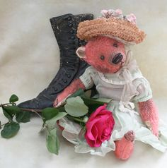 "12"" mohair bear. Custom dyed pink. Antique doll clothes. BradyBears.com"