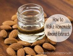 How to Make Homemade Almond Extract the Imperfectly Happy home is part of Homemade spices - How to make homemade almond extract it is easier than you think! I love to make my own extracts They taste better and I know what's in the bottle Homemade Spices, Homemade Seasonings, How To Make Homemade, Food Storage, Homemade Vanilla Extract, Canning Recipes, Smoker Recipes, Rib Recipes, Vegan Recipes