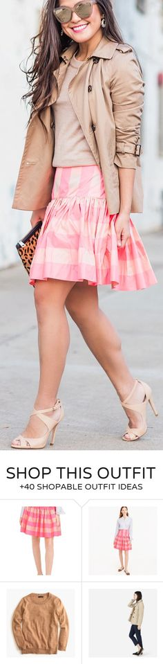 awesome spring outfits /  Beige Jacket / Pink Striped Skirt / Beige Pumps / Beige Knit