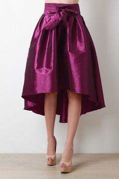 Evening Taffeta Pleated High-Low Skirt - JP Murga's - 2