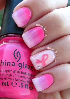 Pink ombre nails for breast cancer awareness month - Instagram @GameNGloss