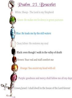 Psalm 23 bracelet. Want to make with youth group girls (and even my daughters). GREAT way to memorize the psalm!