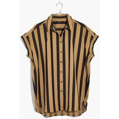 MADEWELL Central Shirt in Edna Stripe (€56) ❤ liked on Polyvore featuring tops, truffle, striped button-down shirts, button up shirts, oversized button up shirt, madewell and button-down shirt