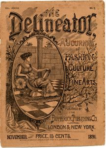 delineator magazine, vintage graphics, old paper, digital grungy paper, old sewing magazine, antique magazine cover, vintage ephemera