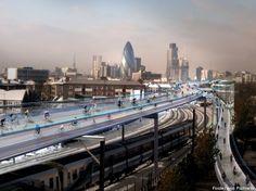 """SkyCycle : le projet de pistes cyclables aériennes au coeur de Londres ! Un architecte anglais, Norman Foster, a dévoilé cette semaine les détails de son concept intitulé SkyCycle, un """"réseau cyclable aérien"""" qu'il voudrait construire au-dessus des voies ferrées londoniennes."""