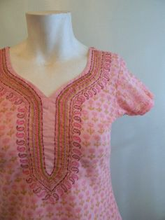 vintage. Pink Cotton Indian Tunic / Short Sleeve by styleforlife, $42.25