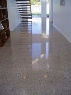 Polished concrete floors with aggregate showing through