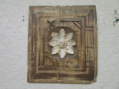 Antique Old Door Carved Panel--Mexican-Antique-Primitive-Vintage-9x10.5-White