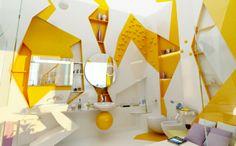Salle de bain originale en jaune
