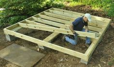 Build a fortified shed floor | Rockwell | mudsill, floor joists and perimeter band joists #DIYShedFloor